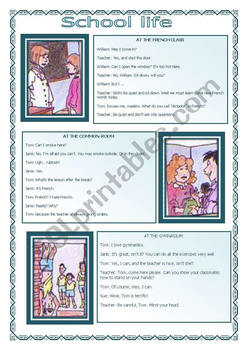 School Life (10.08.08) worksheet
