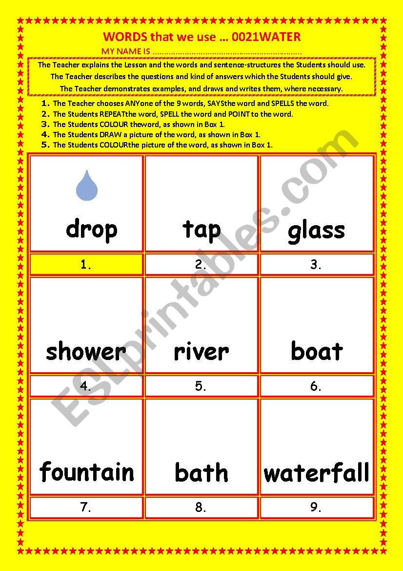COLOURING, Vocabulary, 021 ... WATER