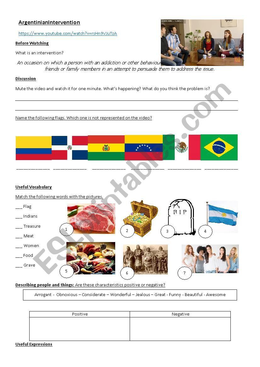 Argentinian Intervention worksheet