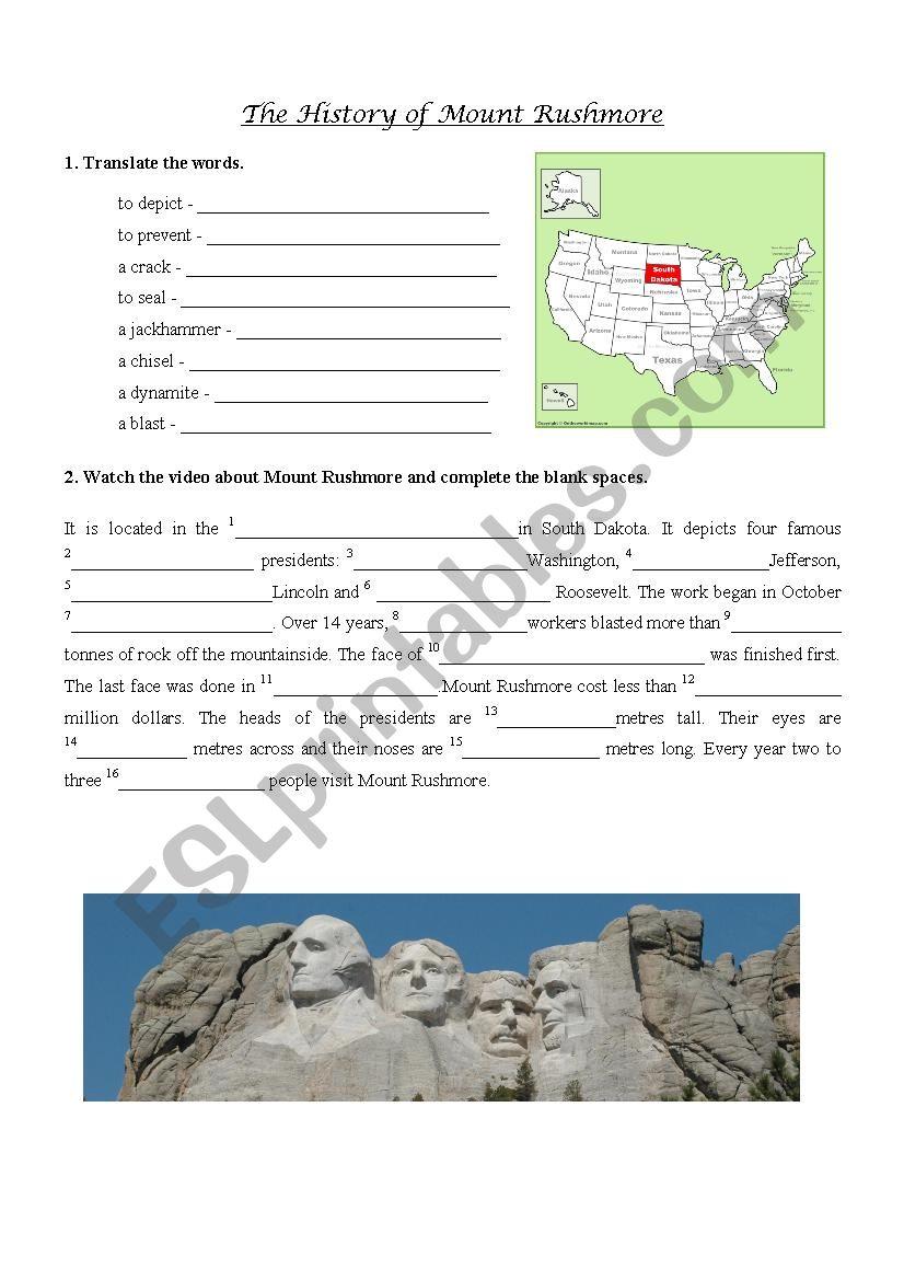 Mount Rushmore video exercise worksheet