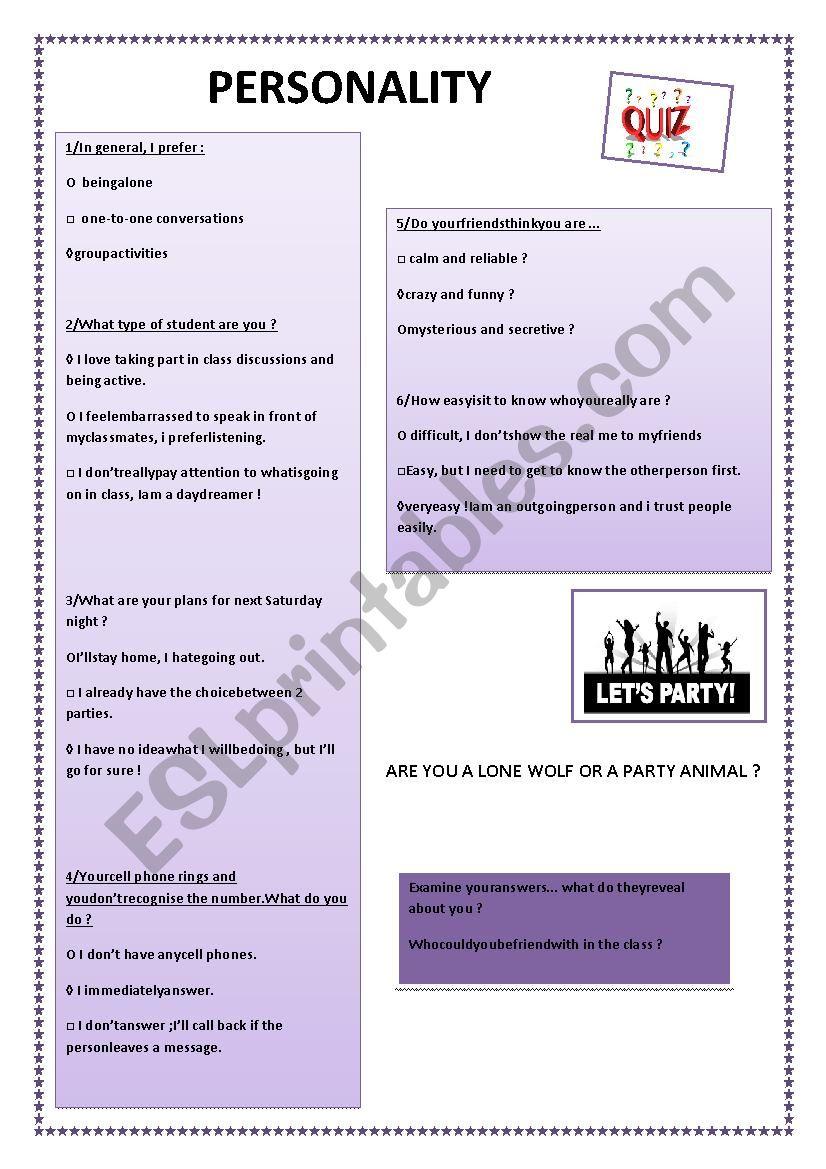 Personality quiz worksheet