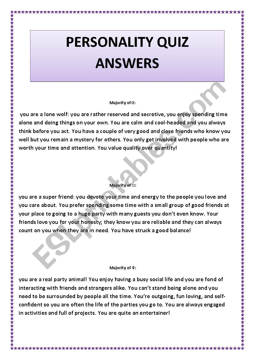 personality quiz answers worksheet