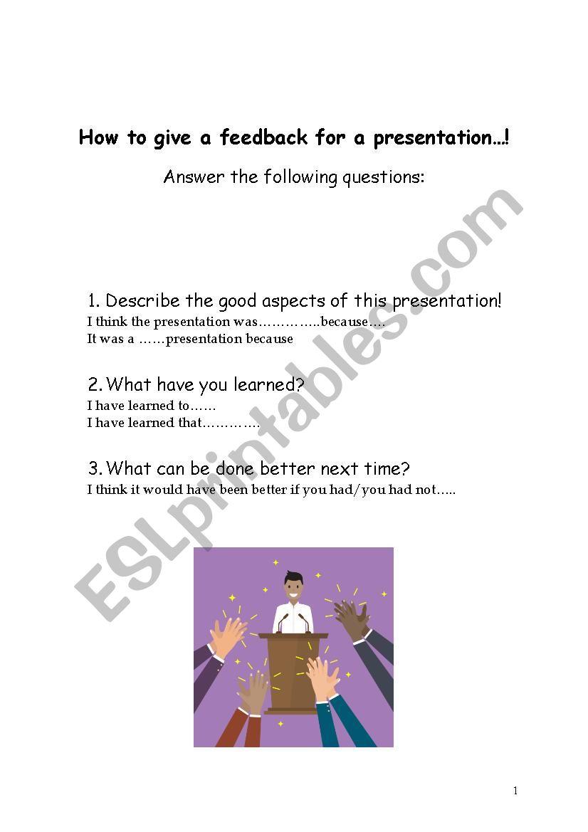 Giving feedback for a presentation