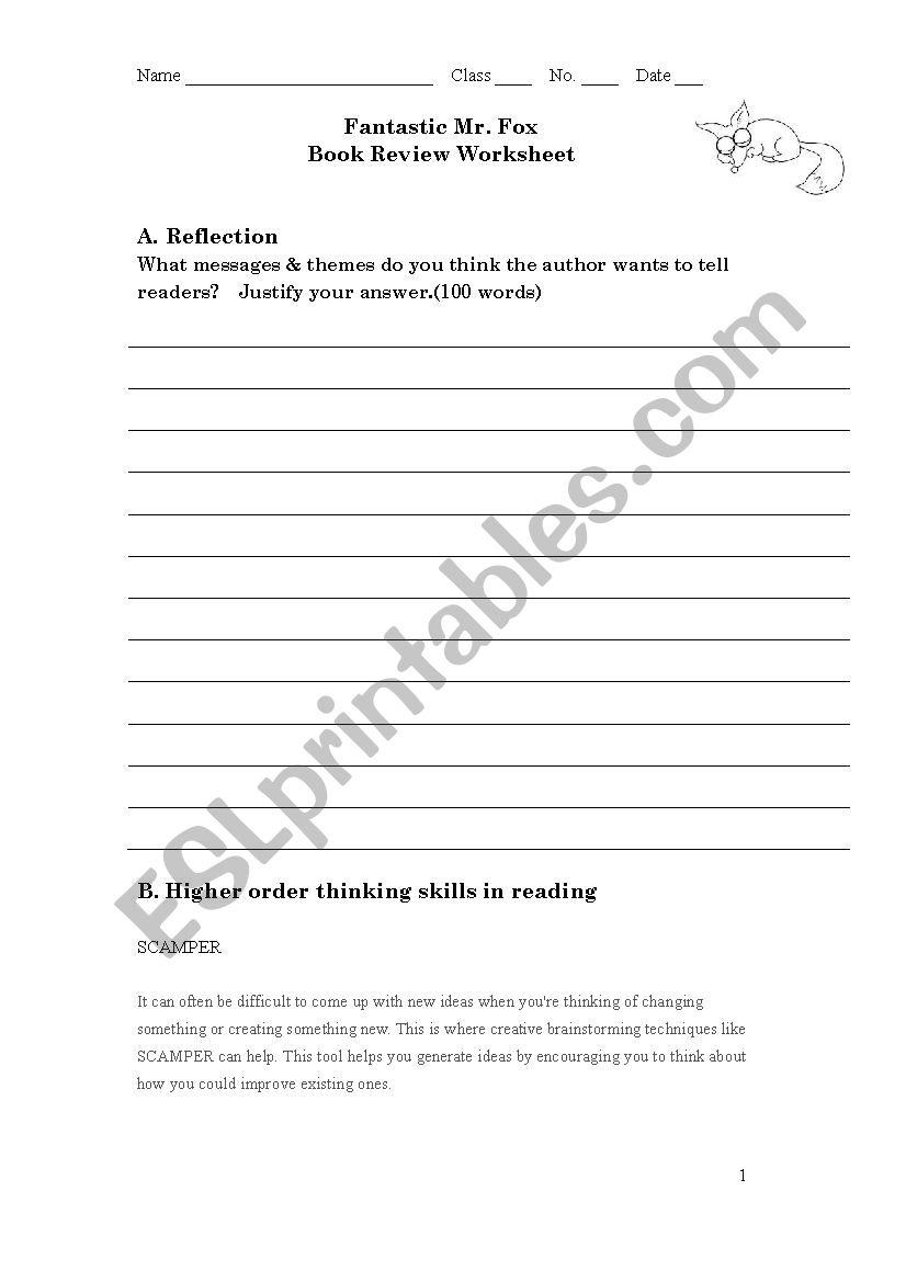 Fantastic Mr Fox worksheet