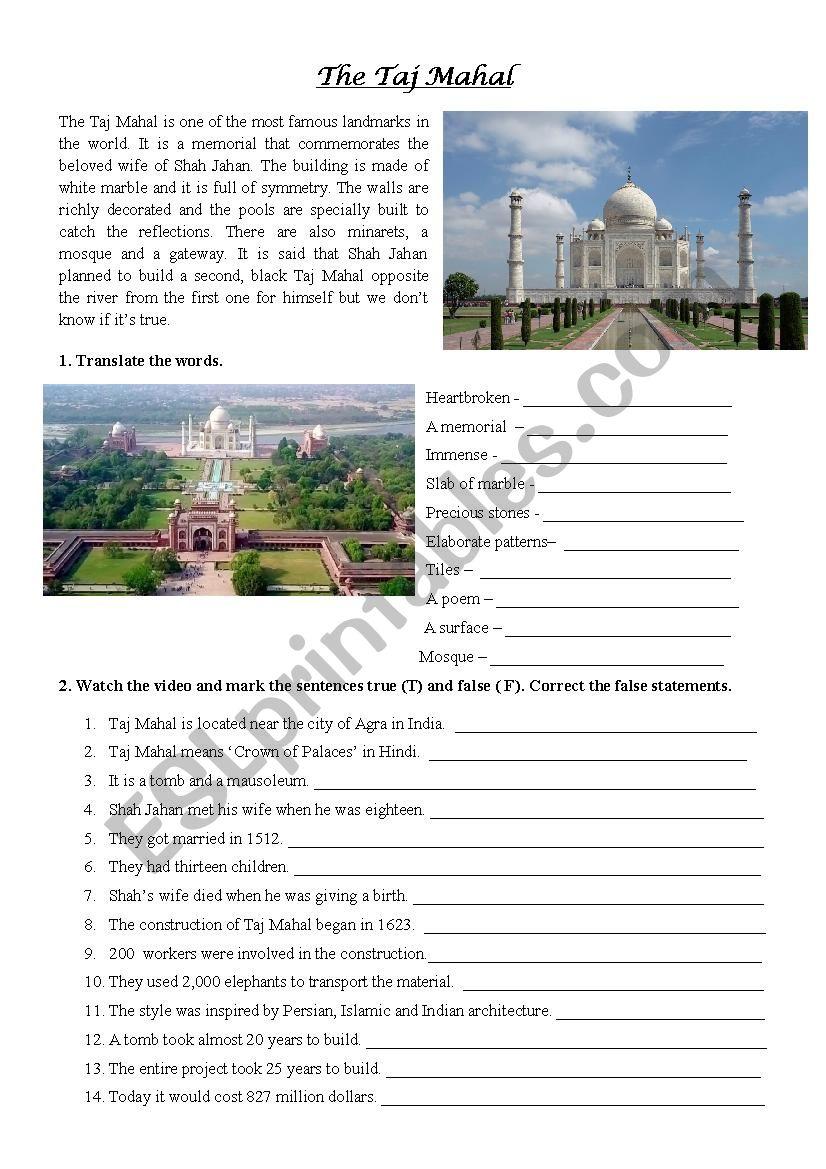 The Taj Mahal video exercise worksheet