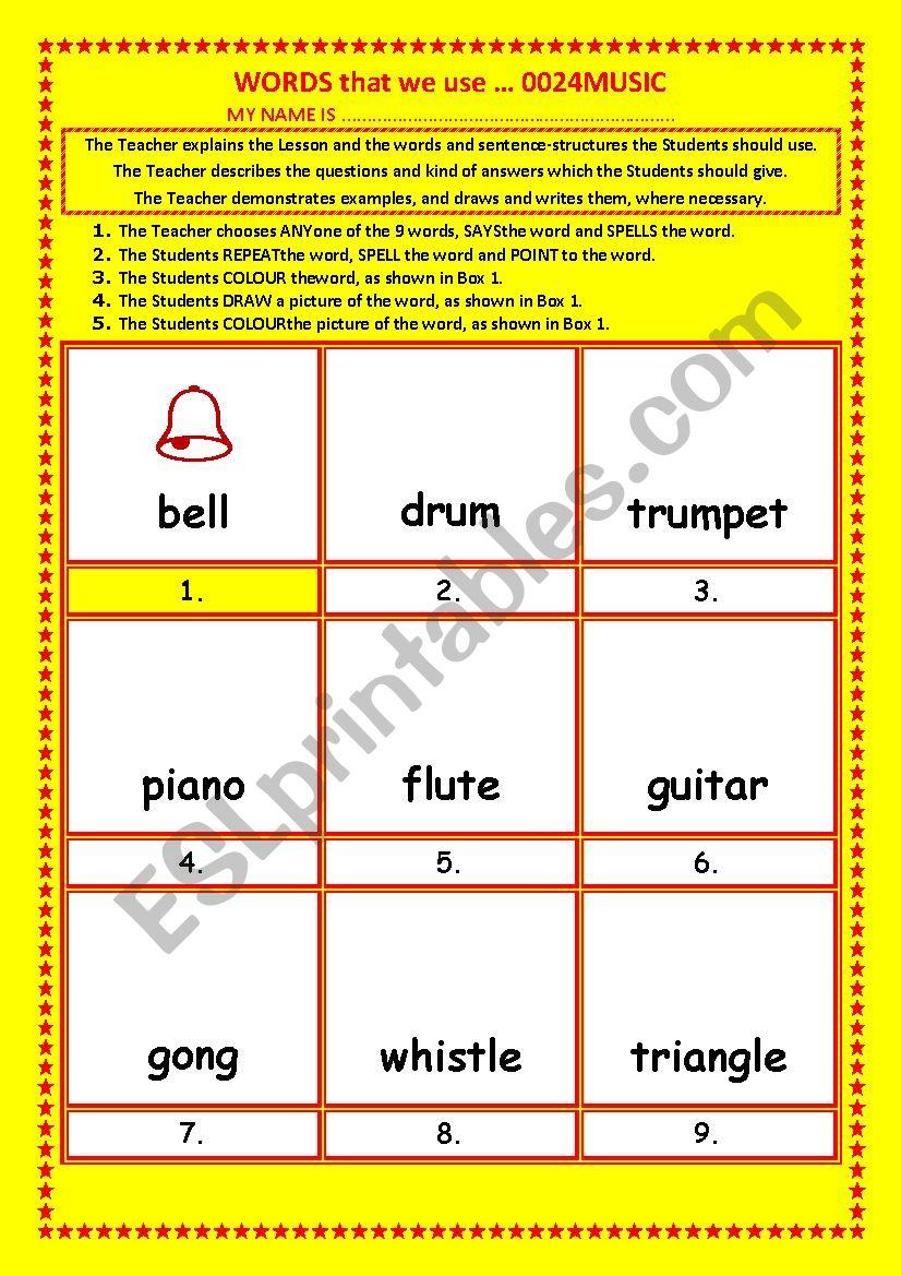 COLOURING, Vocabulary, 016 ... MUSIC