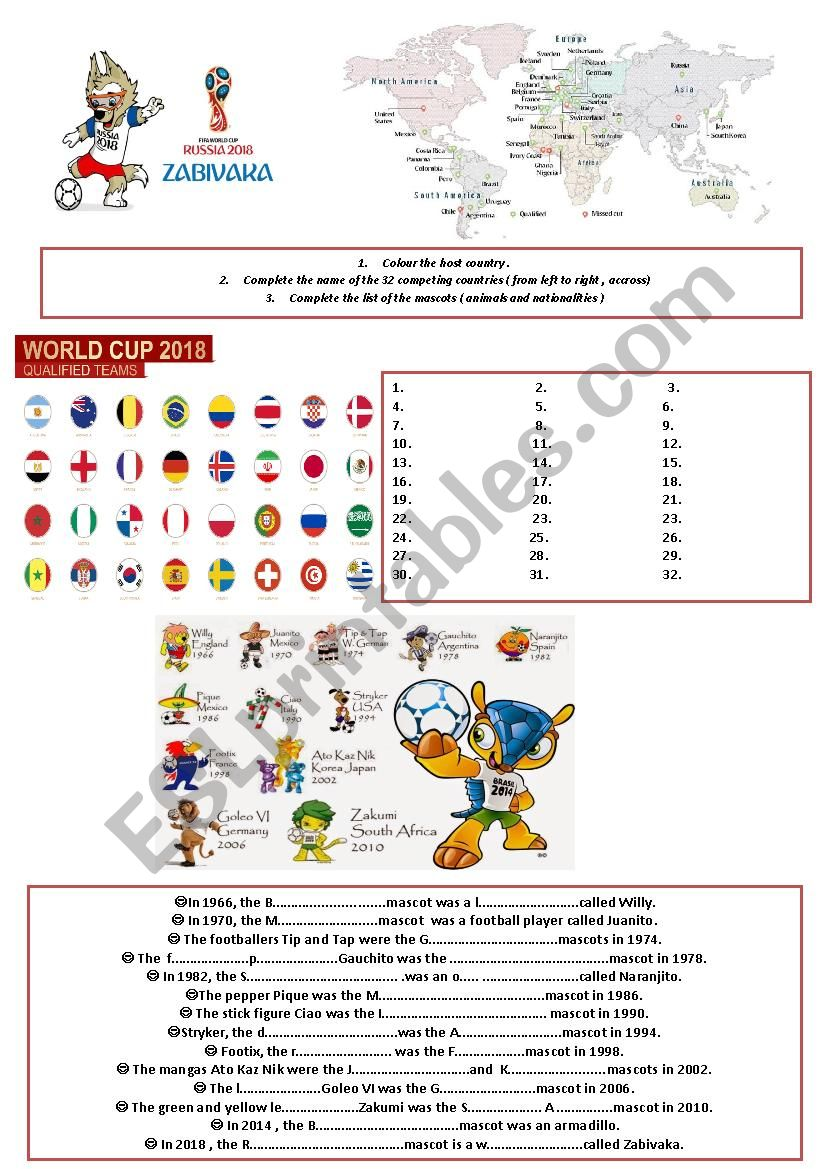 Football World Cup 2018 worksheet