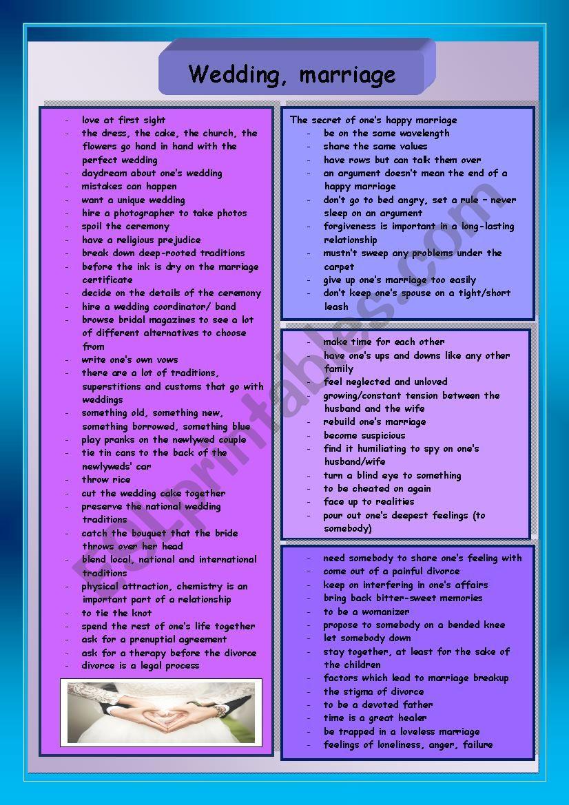 Wedding, marriage worksheet