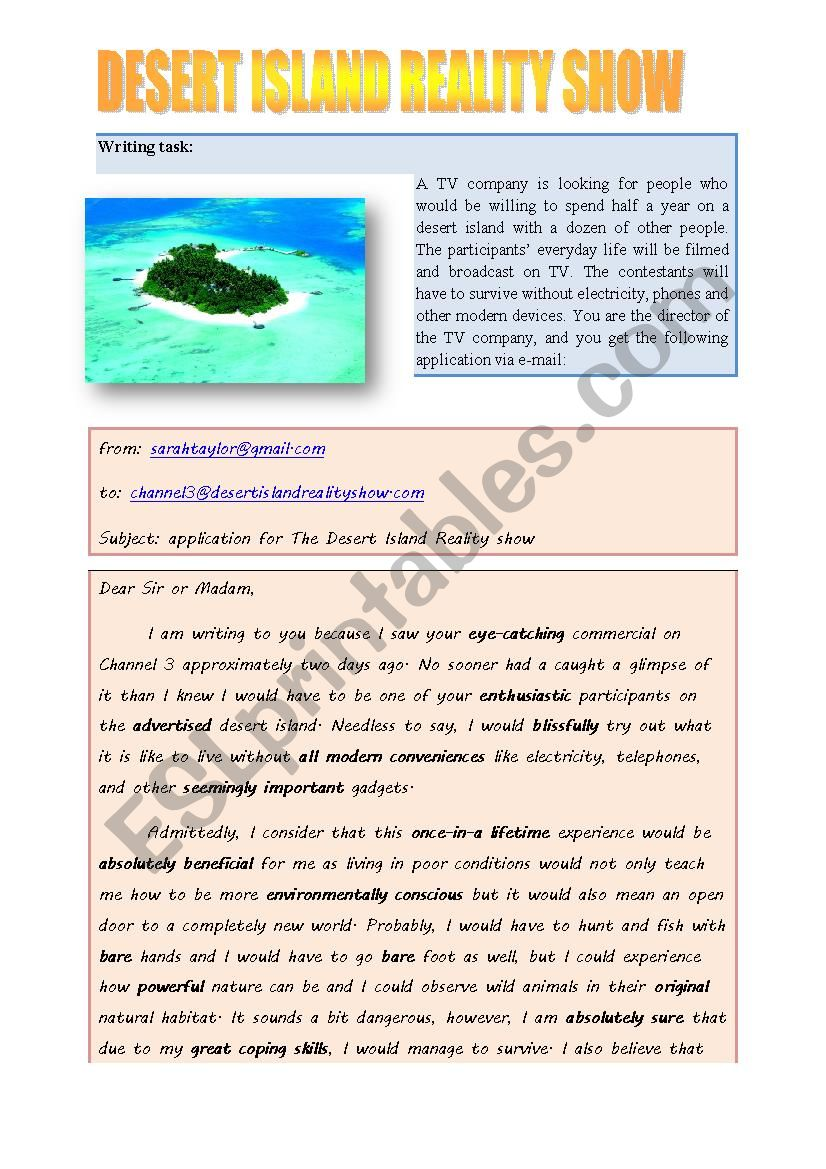 Desert Island worksheet