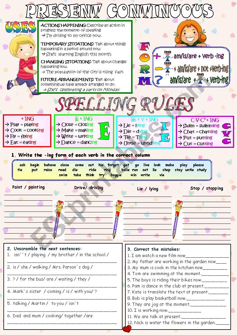 PRESENT CONTINUOUS SPELLING RULES - ESL worksheet by elviabebe