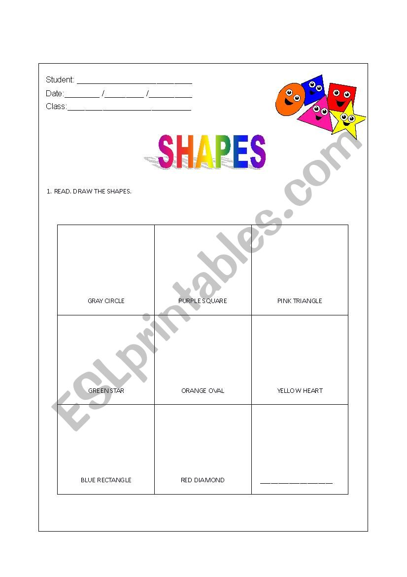 Shapes - Read and Draw worksheet