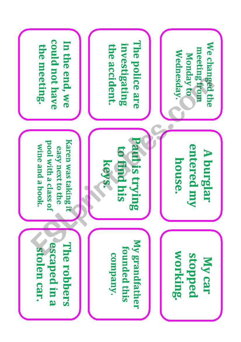 Phrasal Verb Card Game worksheet