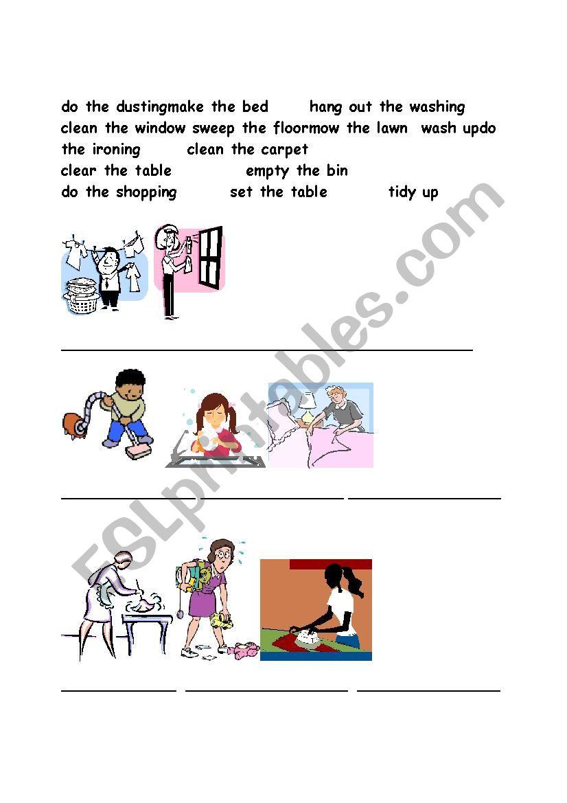 household work worksheet
