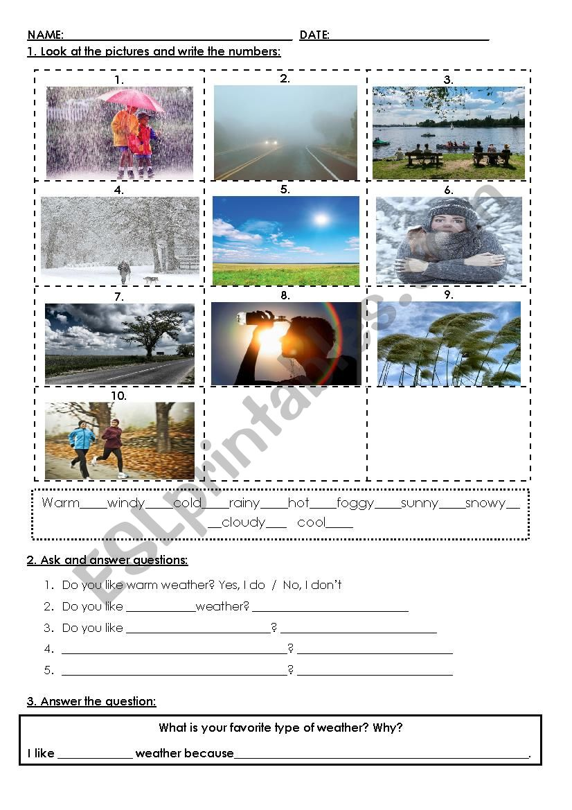 Weather and temperature worksheet