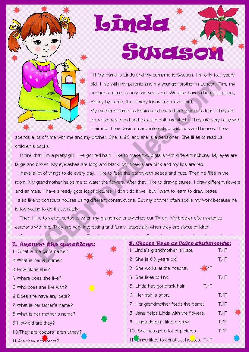 Linda Swason worksheet