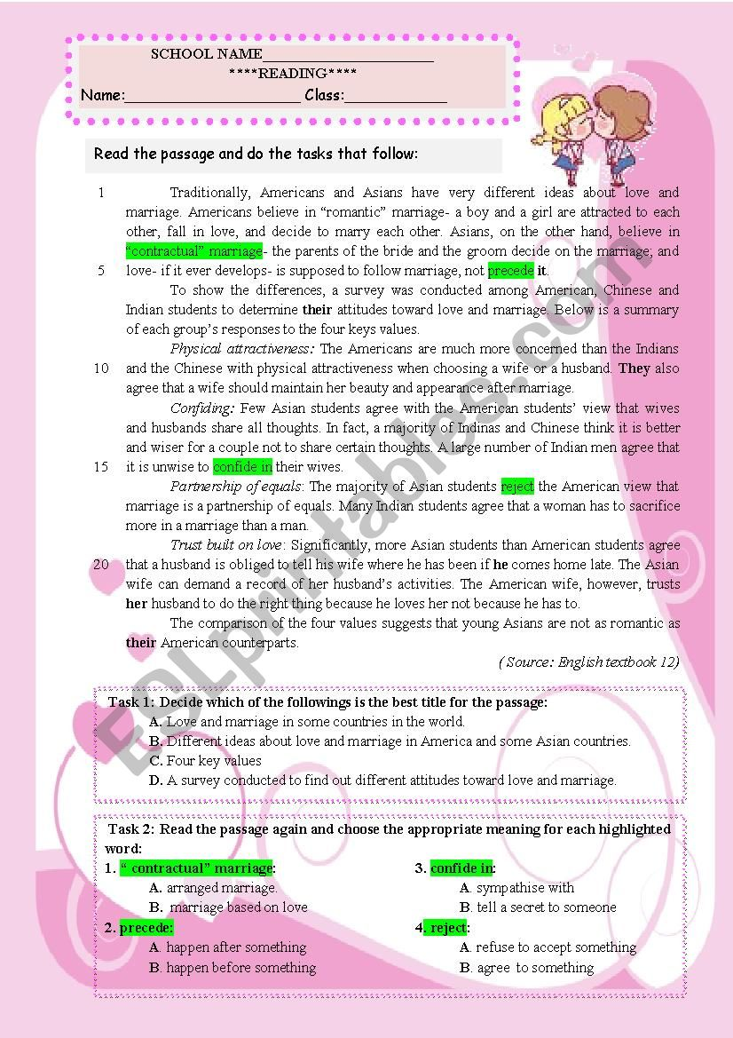 LOVE AND MARRIAGE worksheet