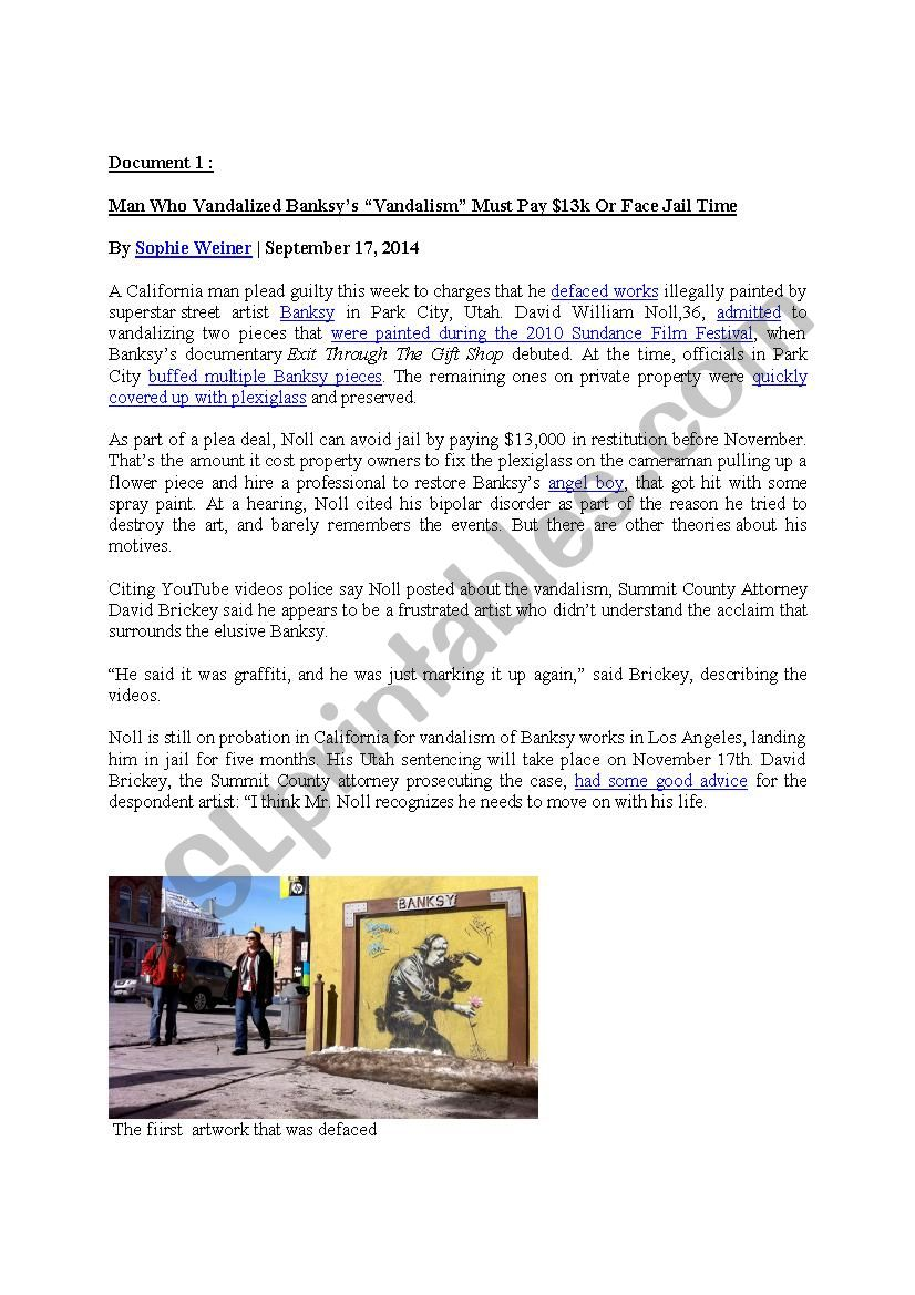 Some people´s reactions to Banksy´s artworks