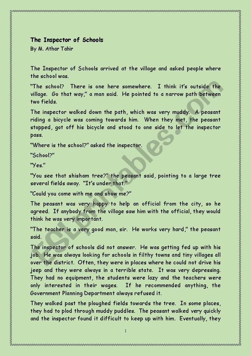 Reading-The Inspector of schools