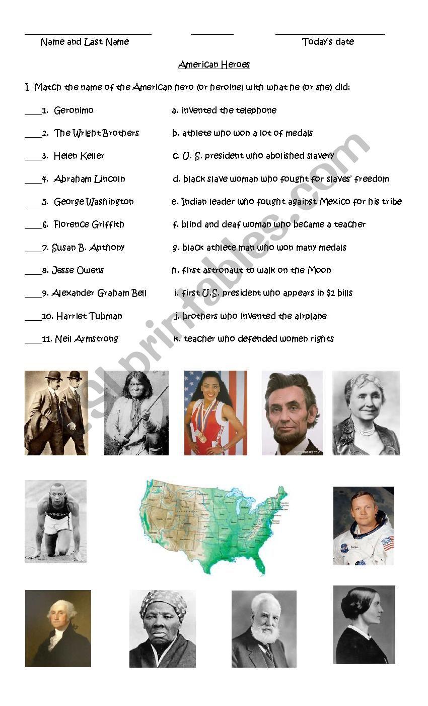 American Heroes worksheet