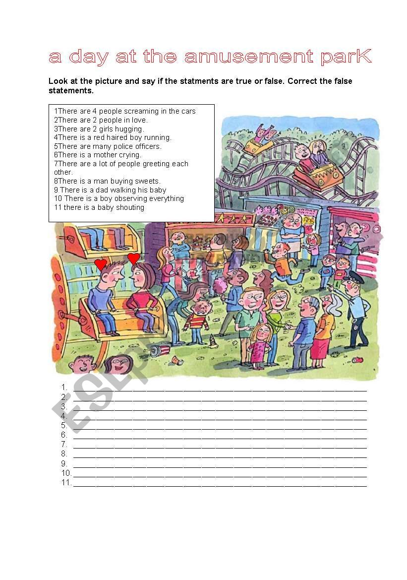 A DAY AT THE AMUSEMENT PARK worksheet