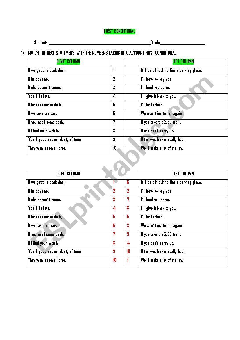 MATCH FIRST CONDITIONAL worksheet