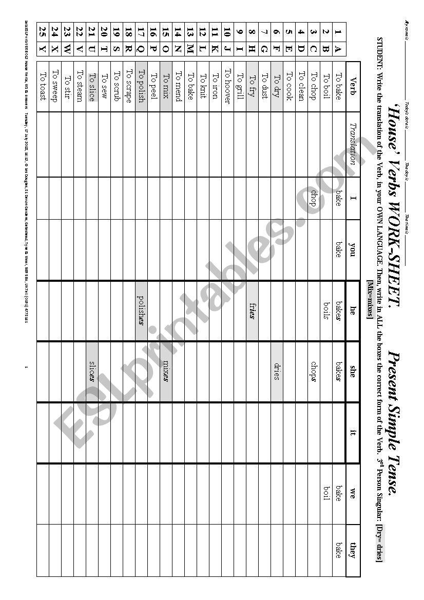 VERB 012 A list of 26 Verbs, of HOUSE-WORK