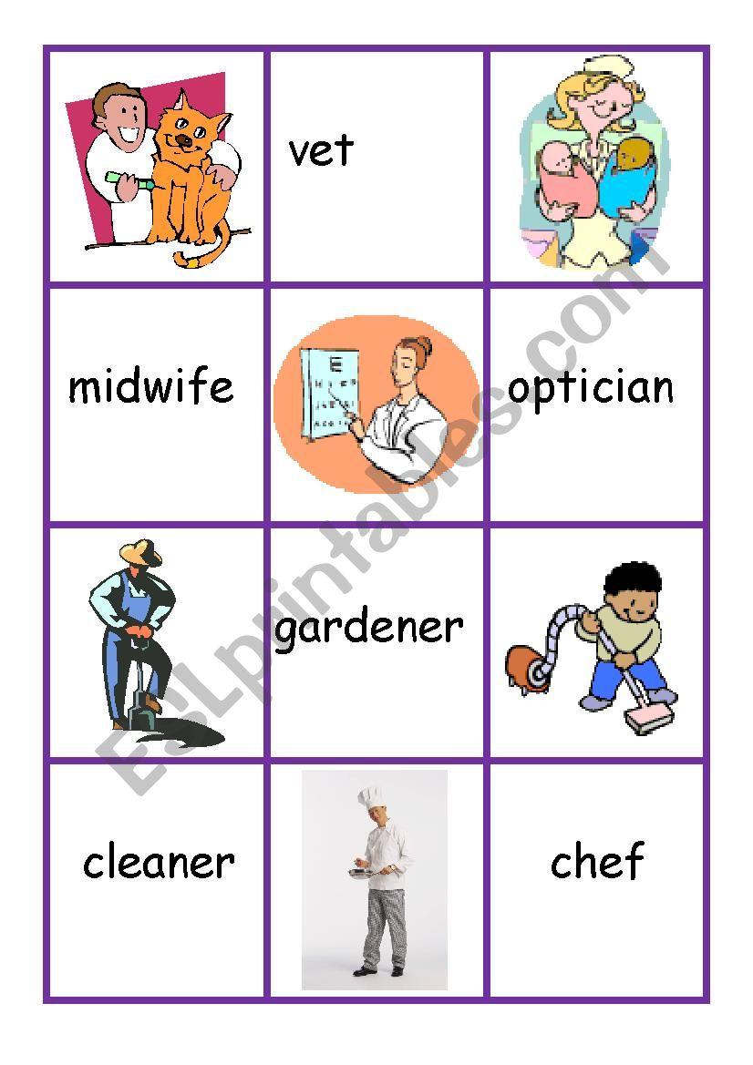 Jobs:pelmanism game worksheet