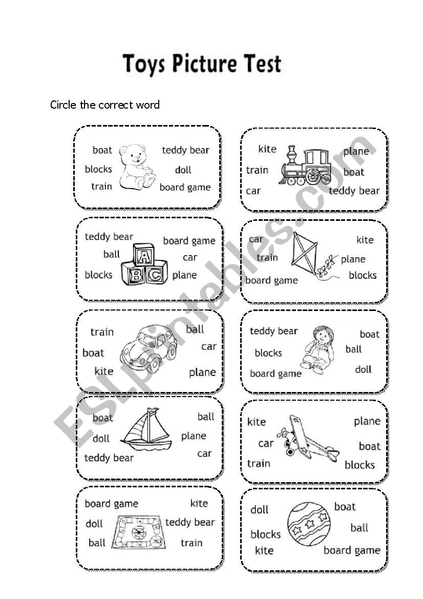 - Toys Picture Test For First Grade - ESL Worksheet By Tiencom