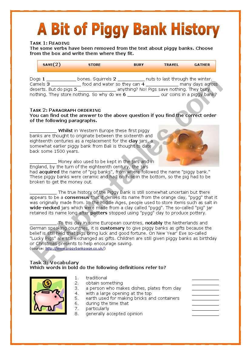 A Bit of PiggyBank History worksheet