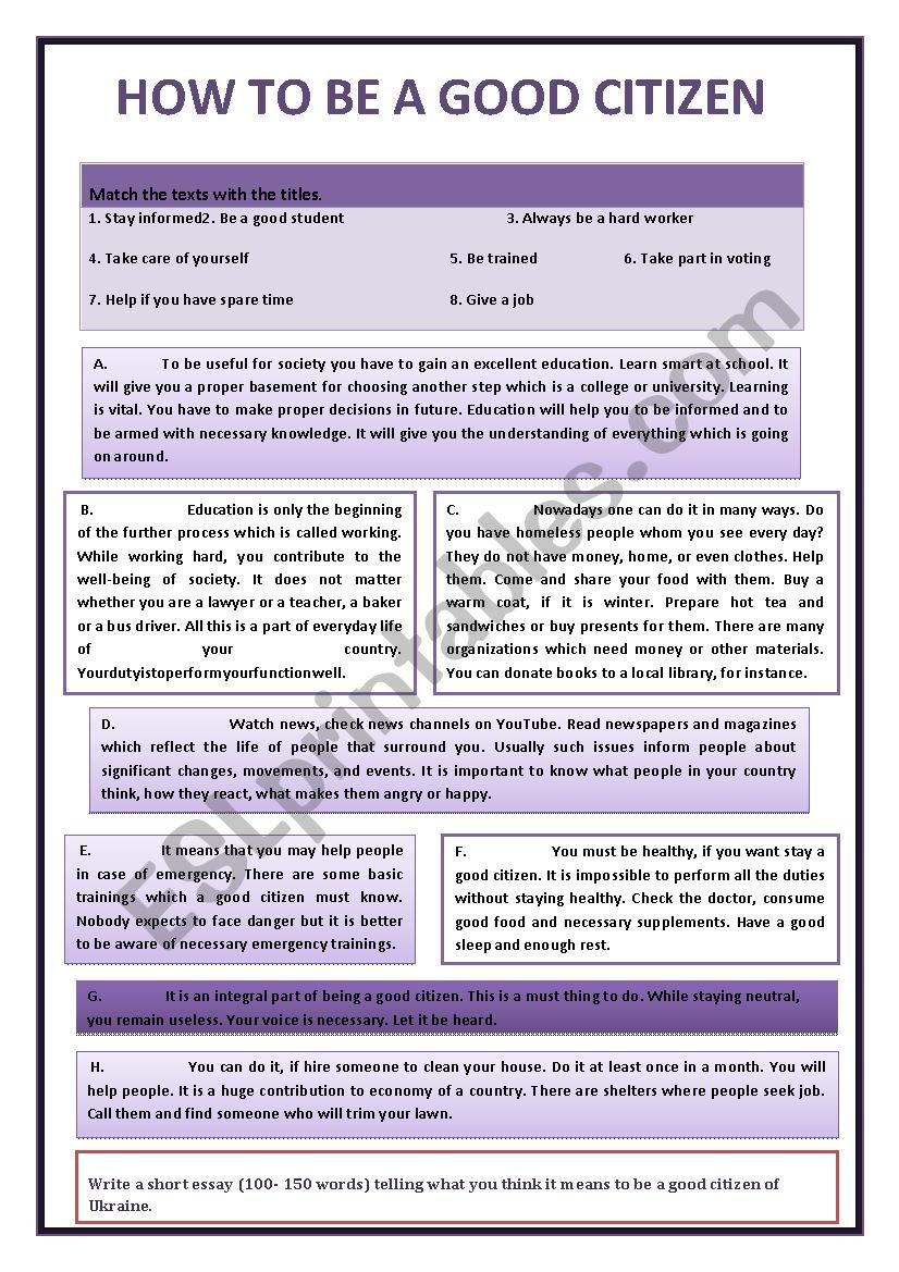 Being A Good Citizen Esl Worksheet By Butkova17
