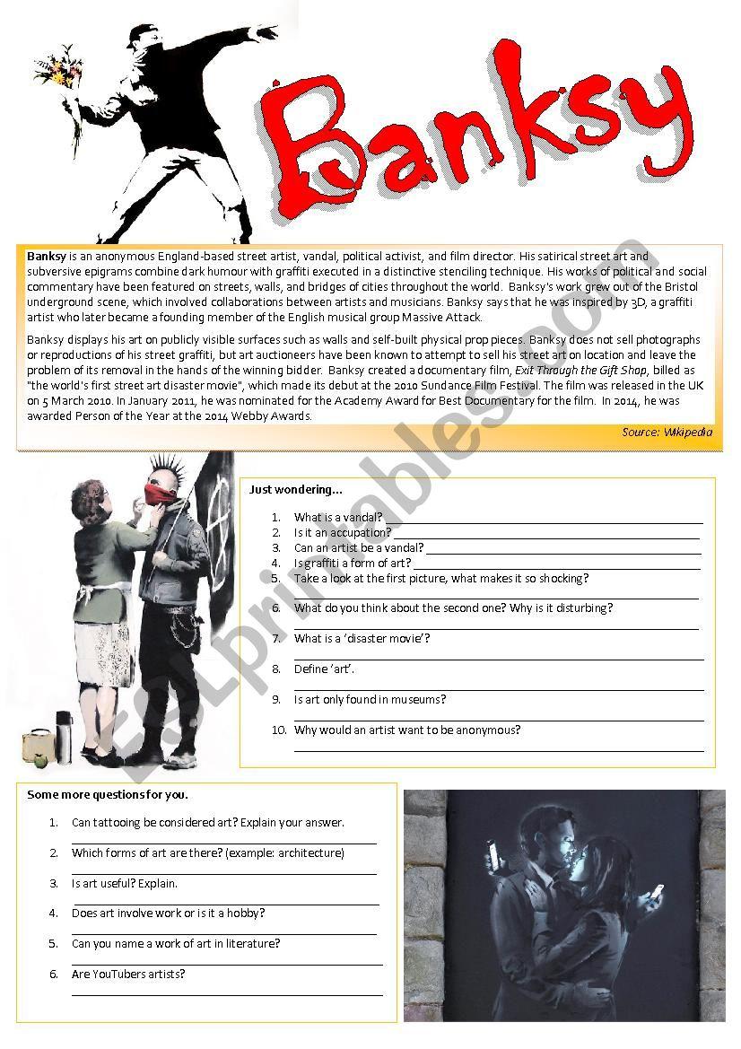 BANKSY (let´s talk about Art) worksheet