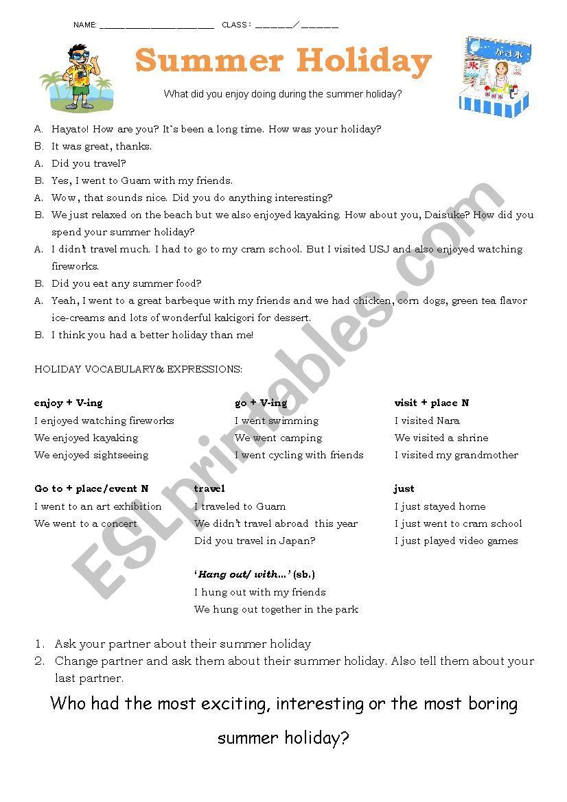 Summer Worksheet worksheet