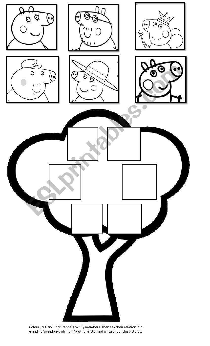 Peppa´s family tree worksheet