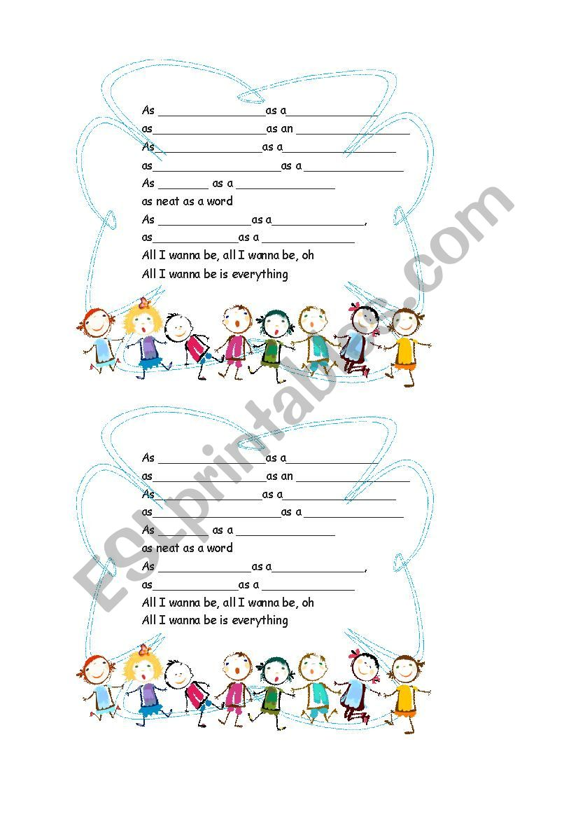 ALL I WANT IS EVERYTHING worksheet