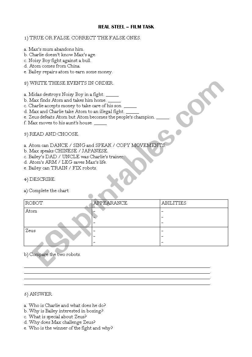 Real Steel - Film worksheet - ESL worksheet by aileonz