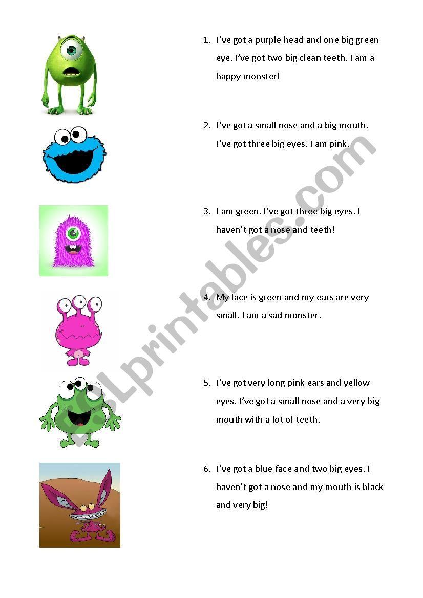 Monsters worksheet
