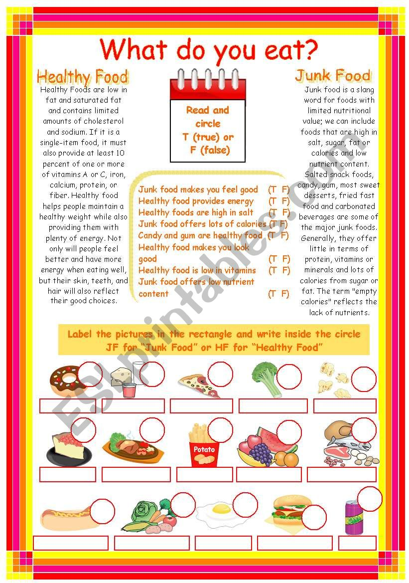Junk Food Healthy Food Esl Worksheet By Karen1980