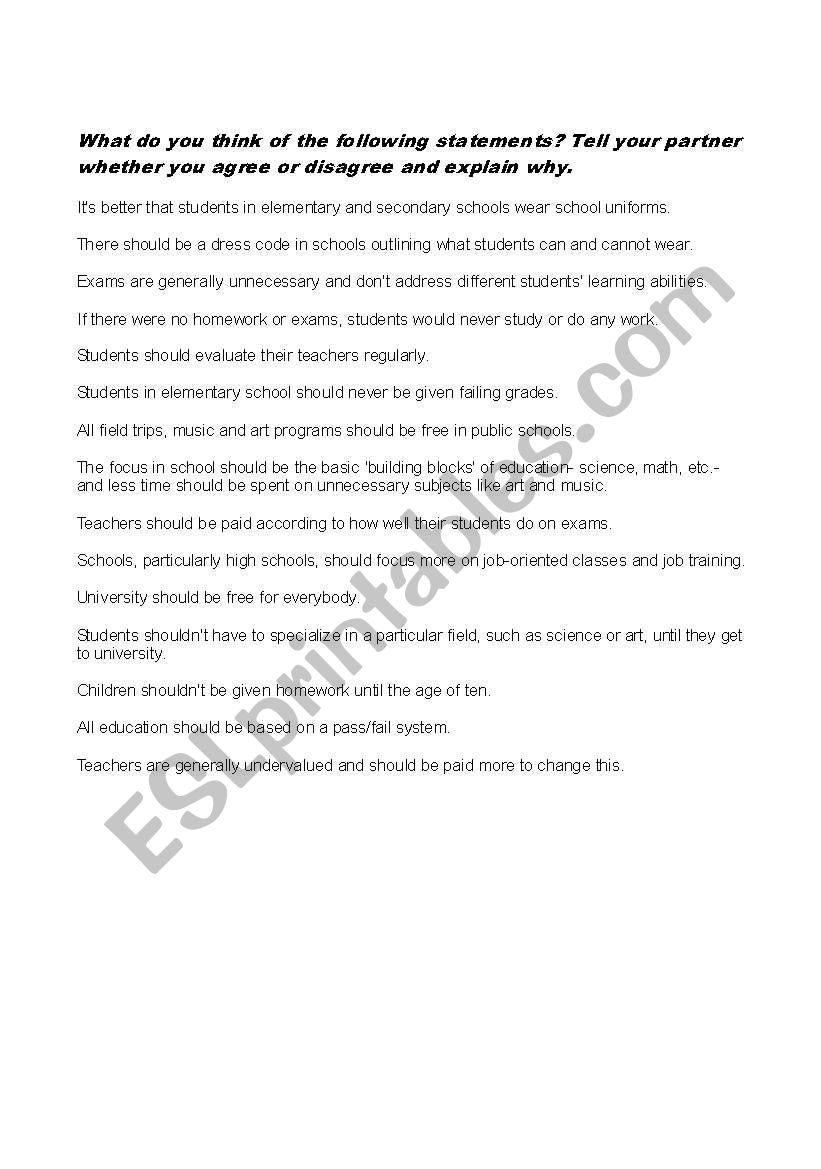 Opinions about education worksheet