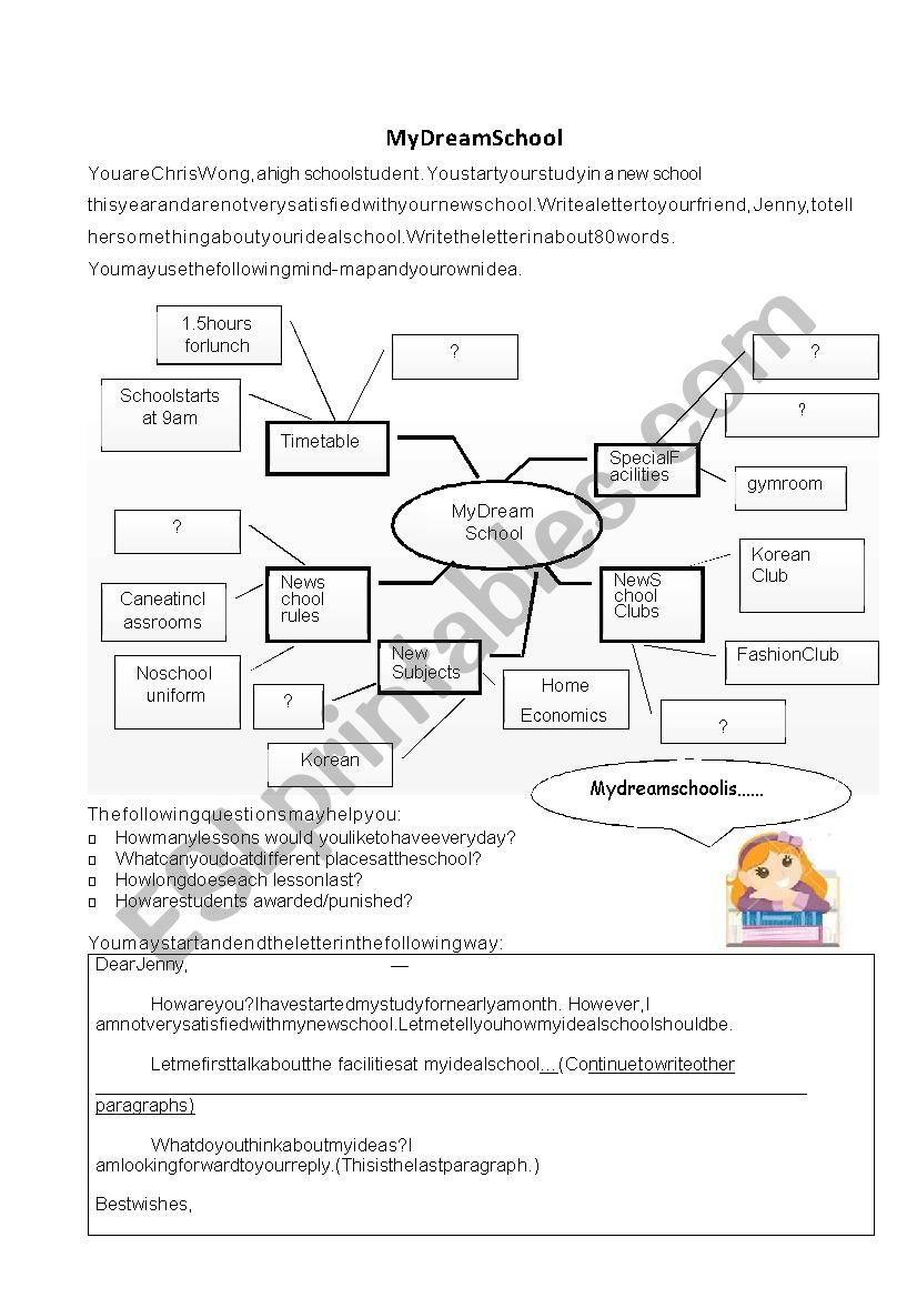 My Dream School Esl Worksheet By Carolkeung