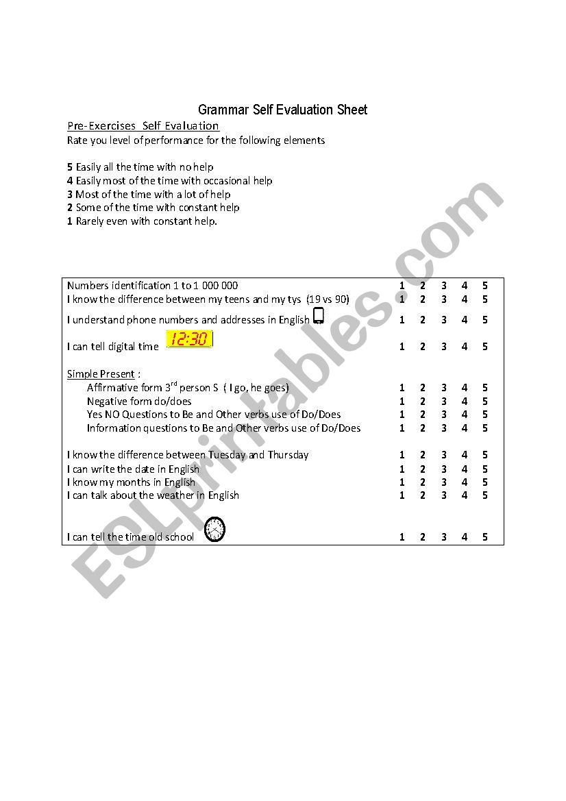 Grammar Self Evaluation Sheet worksheet