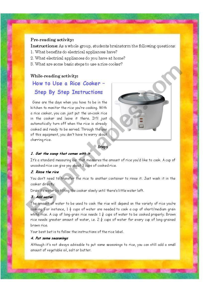 Rice Cooker  worksheet