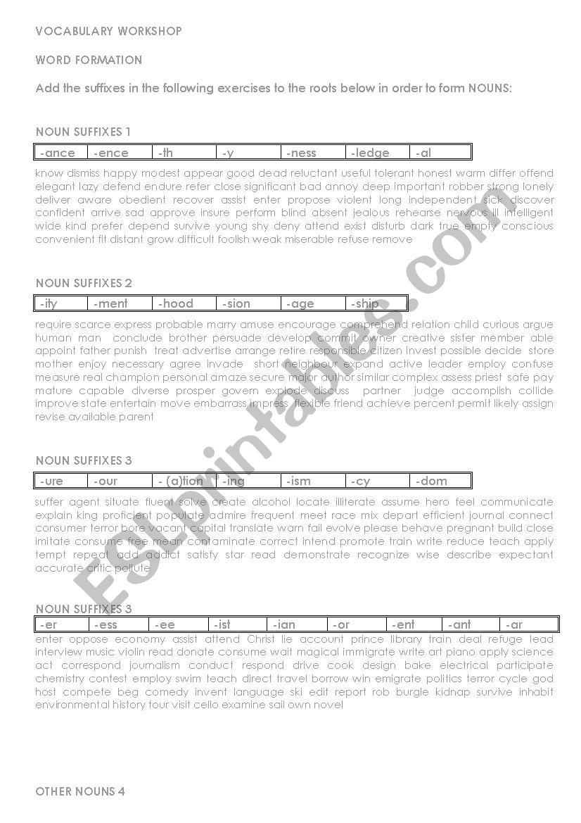VOCABULARY WORKSHOP: SUFFIXES worksheet