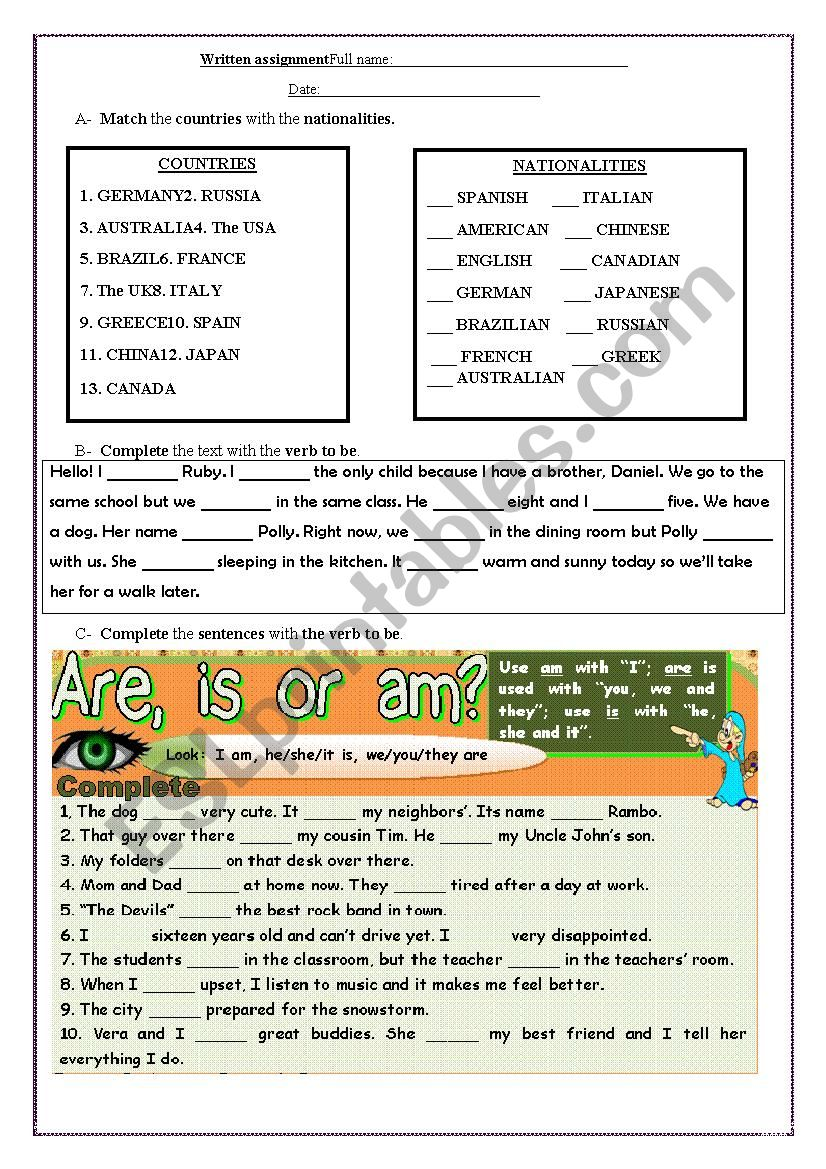 Verb to be: test worksheet