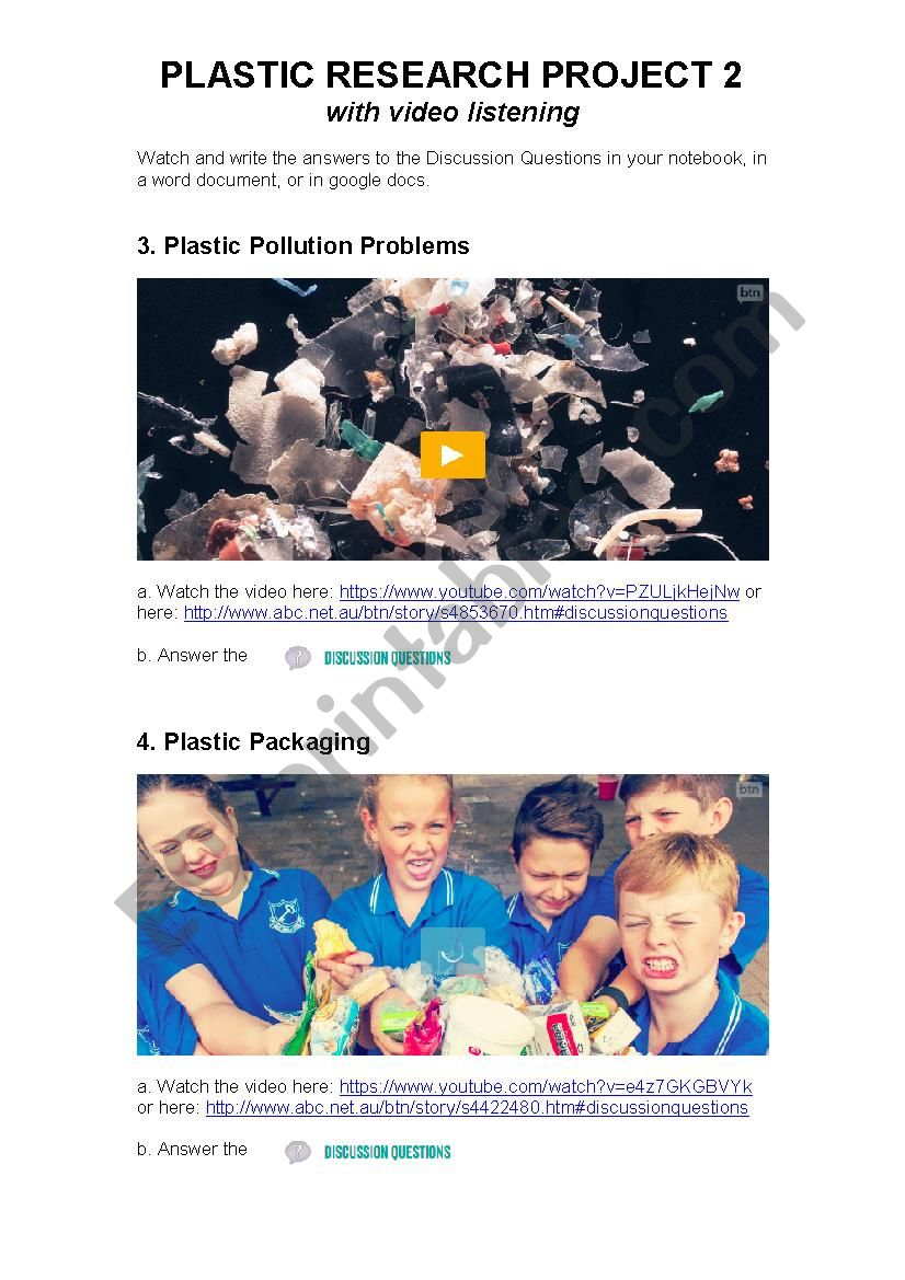 Plastic Pollution: Video Listening, Discussion and Research Activity 2