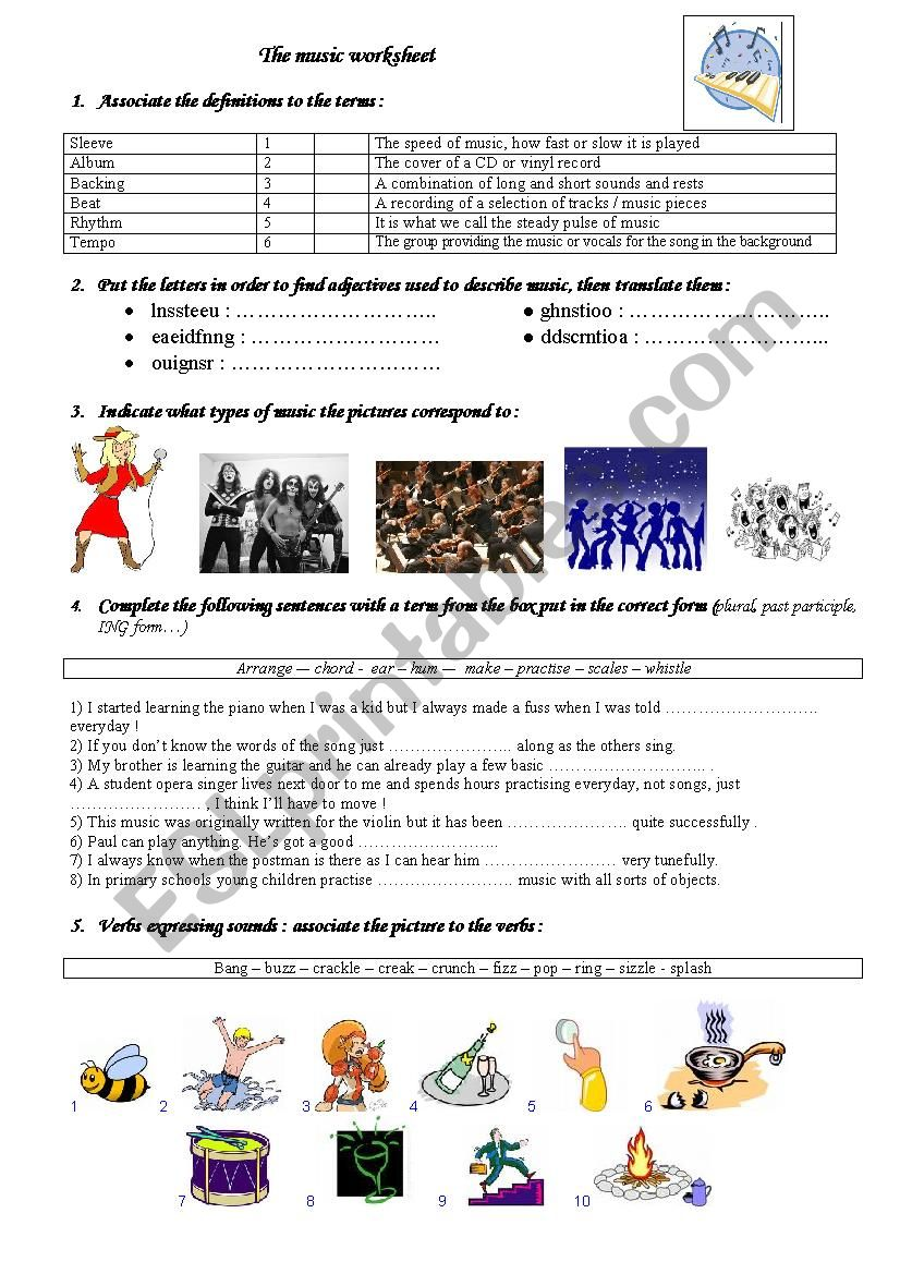 The music worksheet - ESL worksheet by kries