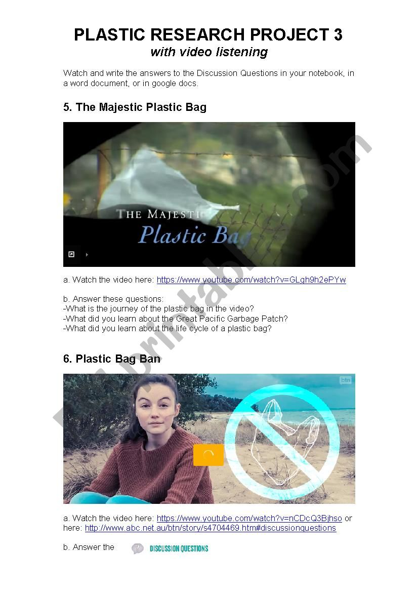 Plastic Pollution: Video Listening, Discussion and Research Activity 3