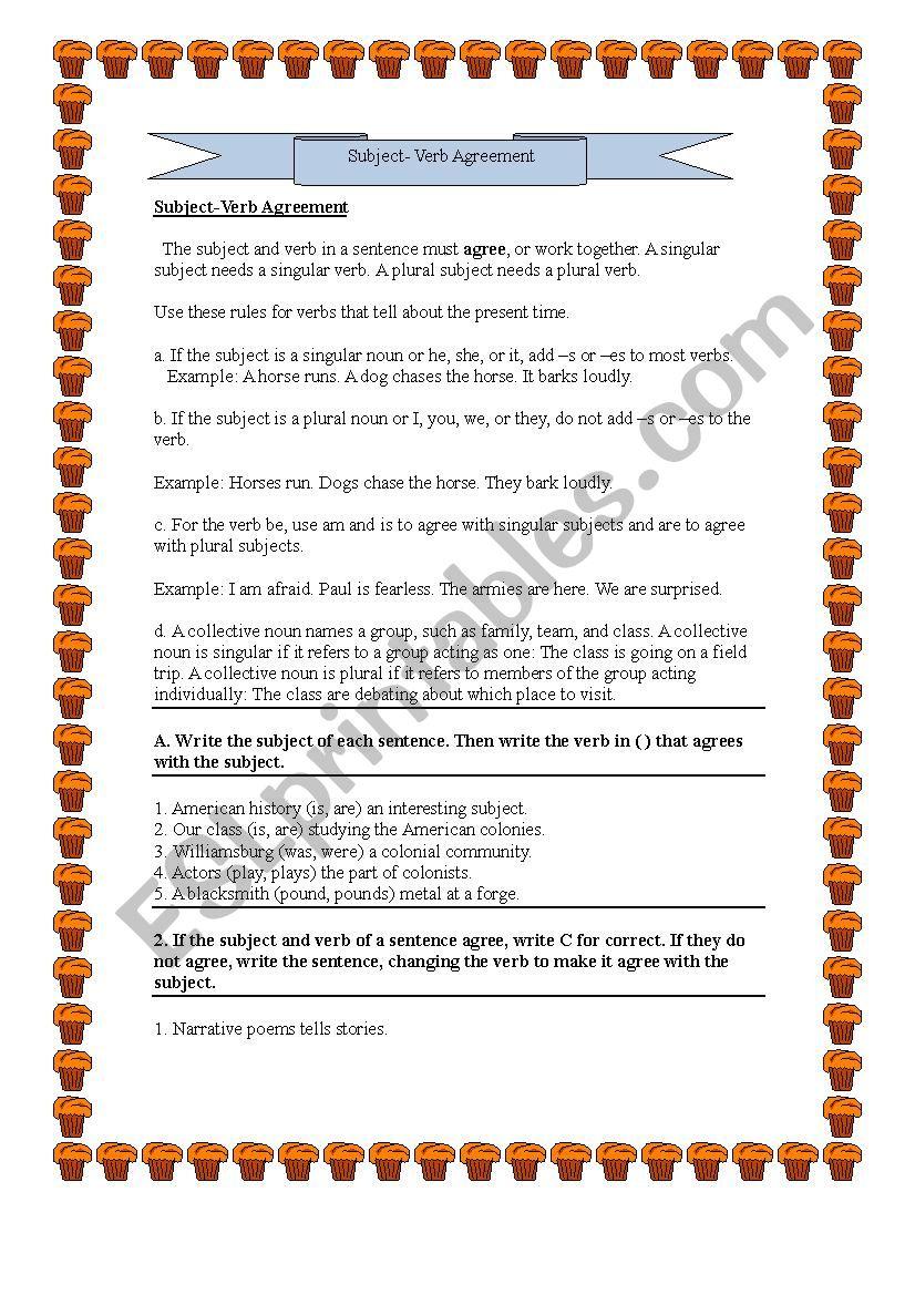 grammar (subject verb agreement)