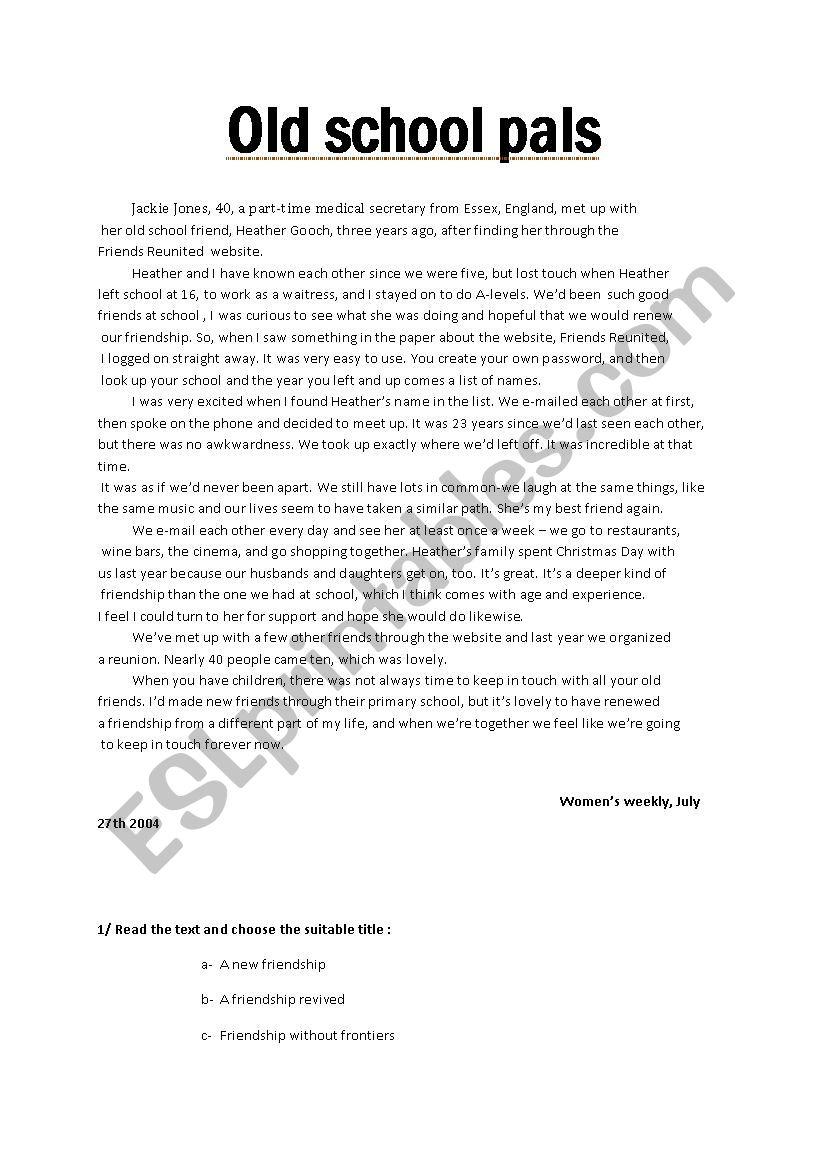 old school friends - ESL worksheet by hatemamiri76