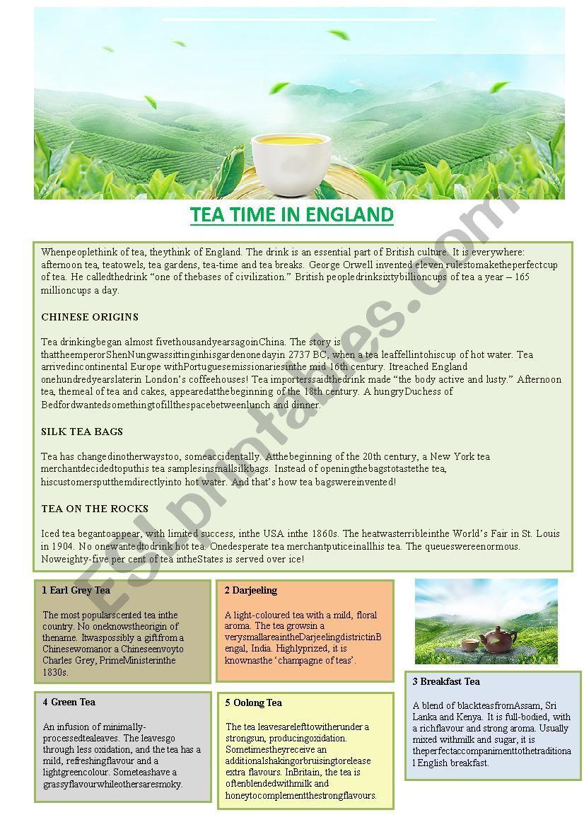 Tea time in England worksheet