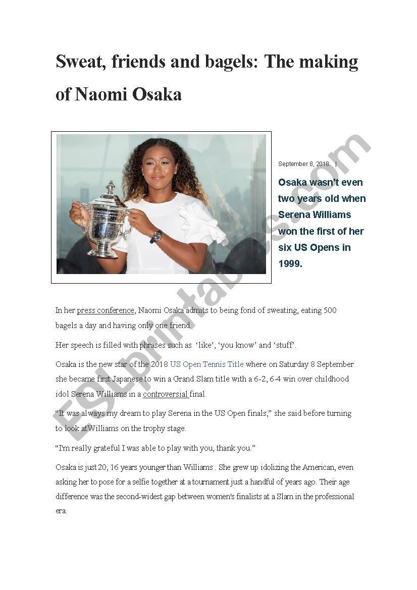 Naomi Osaka Champion worksheet
